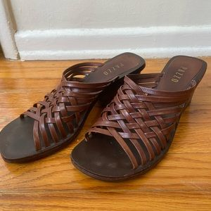 Pazzo Leather Brown Strappy Wedges / Sandals
